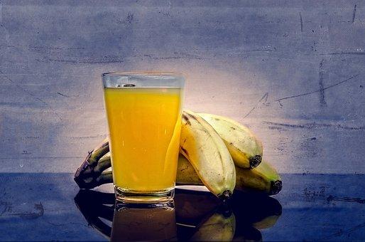 バナナ, ジュース, 風味, 冷, メガネ, スライス, プレート, 全体