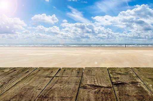 Beach, Wood, Sky, Background