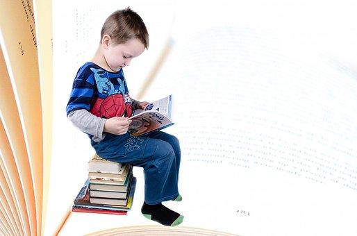 子, 本, 少年, 勉強, 分離, 教育, 知恵, 未就学児, 重い, 幼稚園