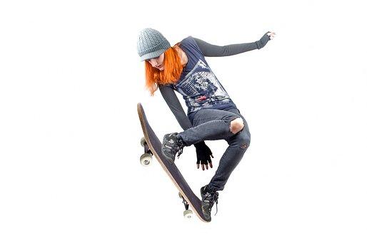 スケート ボード, スケートボーダー, スケートボード, 人, 跳躍, 女の子