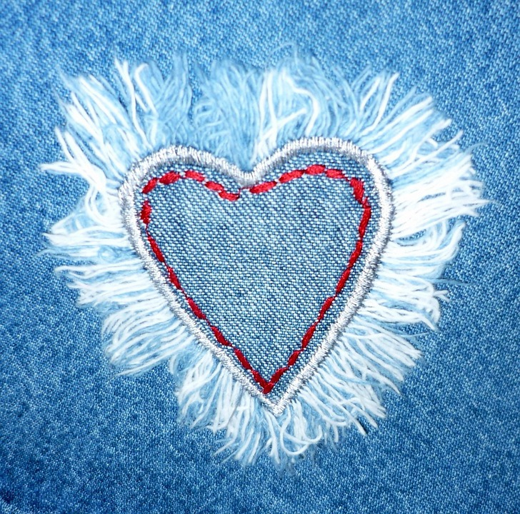 Jeans, Tessuto, Cuore, Amore, Design, Tessile