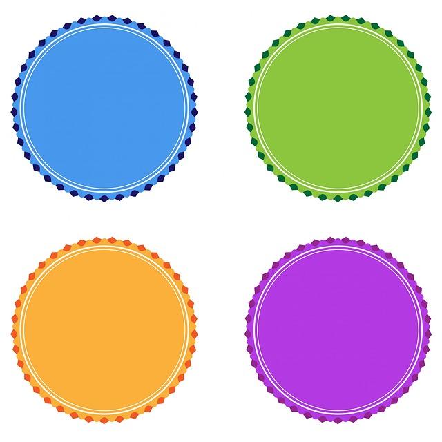 free illustration badge badges orange purple free image on