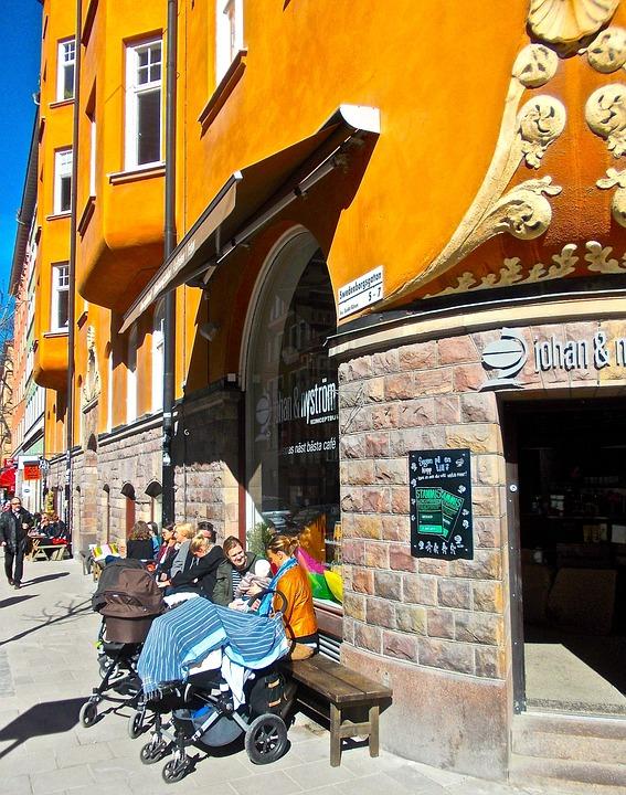 Husfasad, Uteservering, Kafé, Swedenborgsgatan