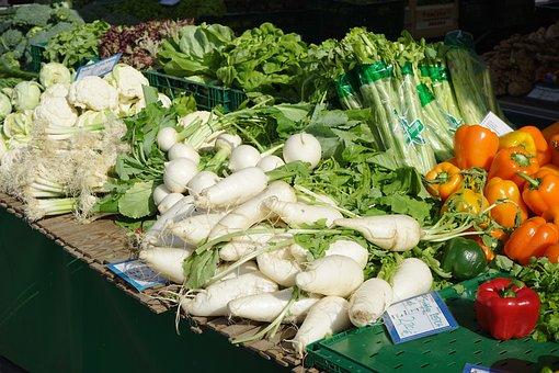マーク, 市場の新鮮な野菜, 野菜, パプリカ, ネギ, 大根, 5 月ビート