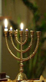 Menorah, Burning, Jewish, Candle, Bible