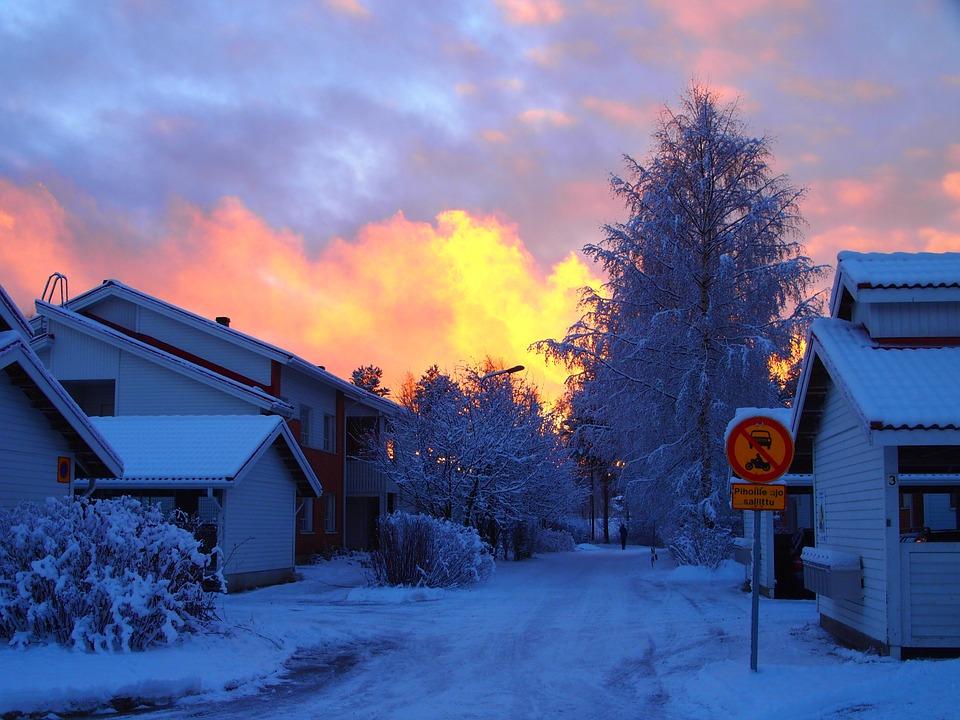 Lumi Laukut Suomi : Ilmaisen valokuvan suomi ilta sunset talvi lumi