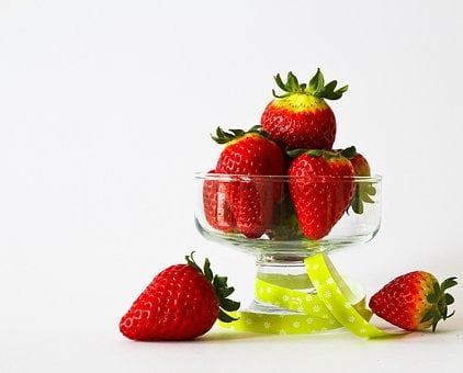 果物, イチゴ, フルーツ, 赤, デザート, 装飾された, おいしい, 健康