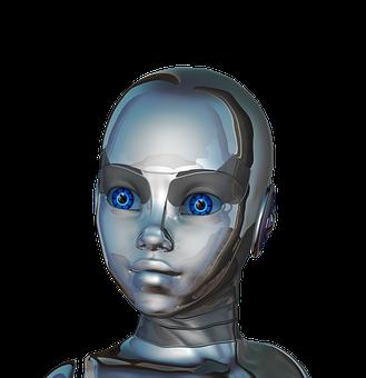 Girl Woman Face Eyes Close-Up Robot Cyborg