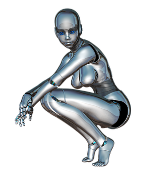 Girl Woman Face Posing Side Robot Cyborg A