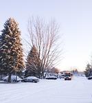 winter, bus, road