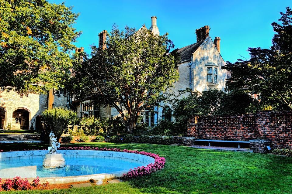 Fountain, Garden, Villa, Mansion, Facade, Building