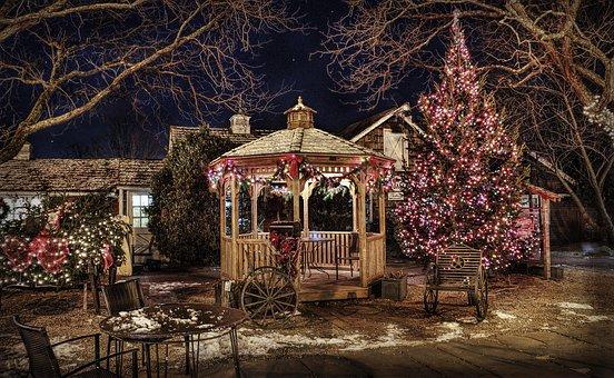 Pavilion, Gazebo, Backyard, Winter, Hdr