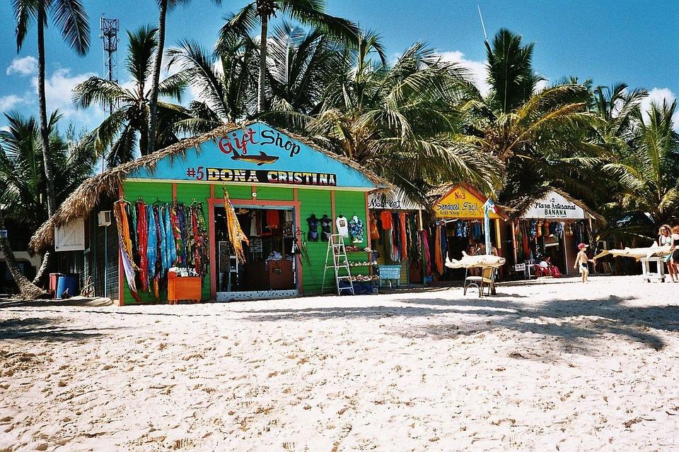 Dominikana, Karaibów, Morze, Plaży, Palmami, Wakacje