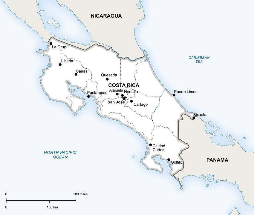 free illustration: political, map, costa rica - free image on
