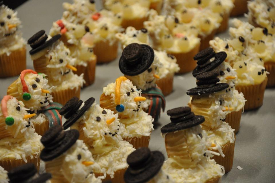 Cupcakes Snowmen Food Christmas Xmas Sweet