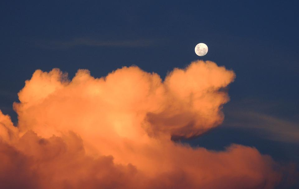 雲, 月, 空, 満月, 曇り, 積乱雲, 夕暮れ, 月の出, 月光