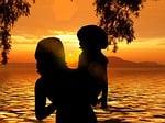 beach, sun, sunset