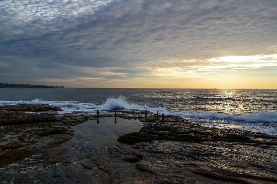 Coogee, Ocean, Shore, Coast, Sydney, Australia, Rocks