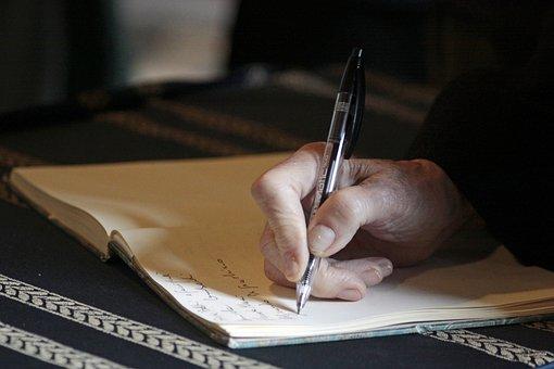 Mano Por Escrito Pluma Personas Autor Nota