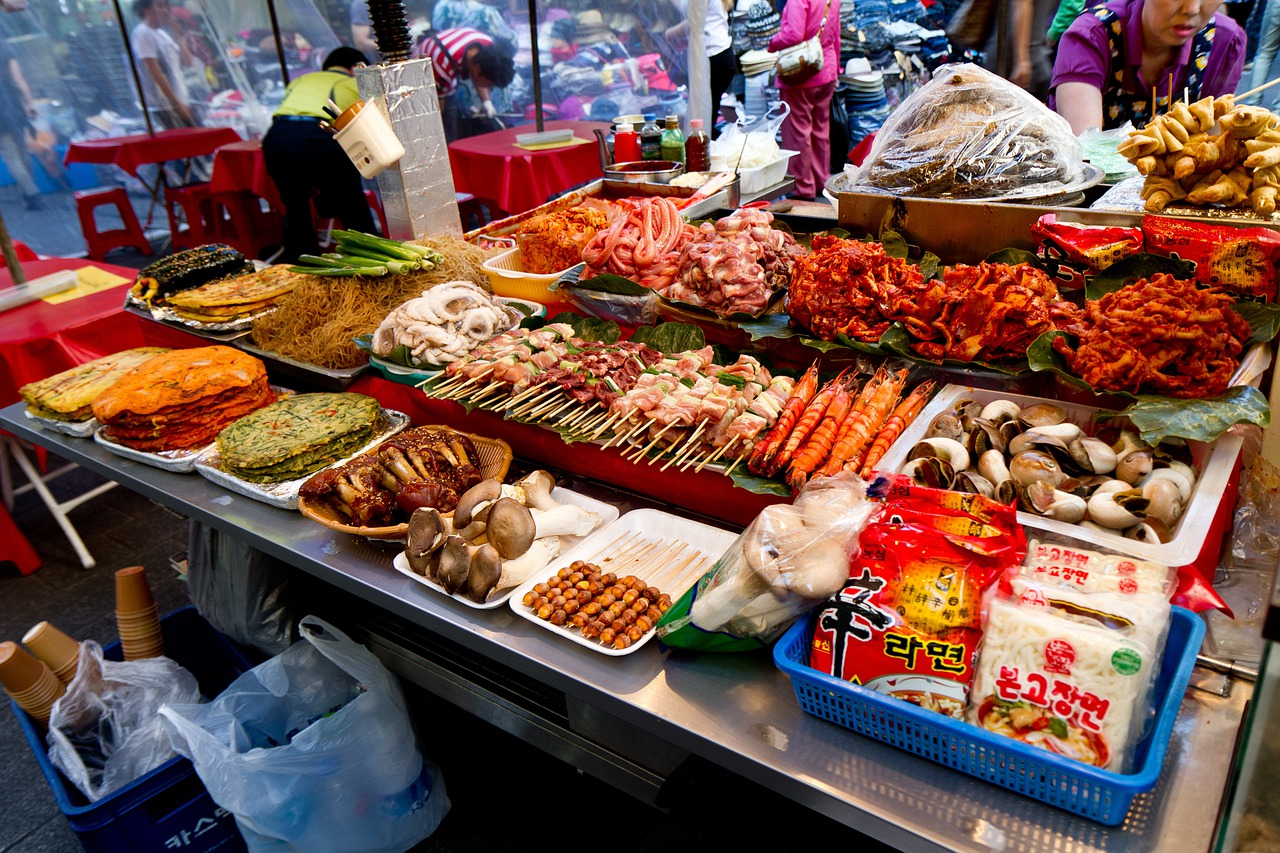 Namdaemun Market in Seoul, with Korean traditional foods