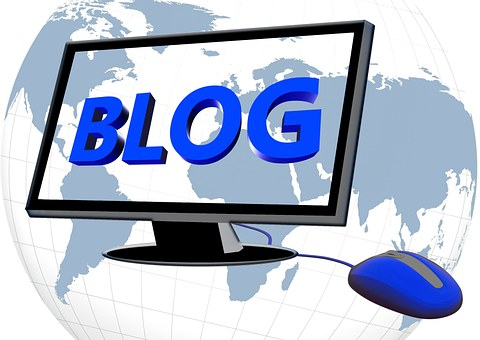Imageof a blog represented by a screen with the word BLOG written in blue capital letters acrossit and a mouse underneath it and a globe behind