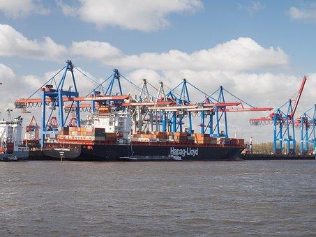 Hamburgo, Puerto, Alemania, Frachtschiff