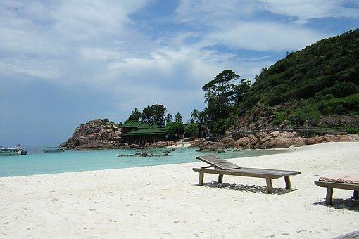 Malaysia, Beach, Palms, Blue, Sunny, Sun