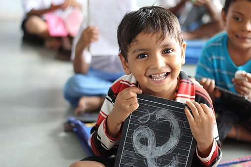 男孩, 学校, 笑, 儿童, 印度, 艾哈迈达巴德, 婴儿, 孩子们, 人