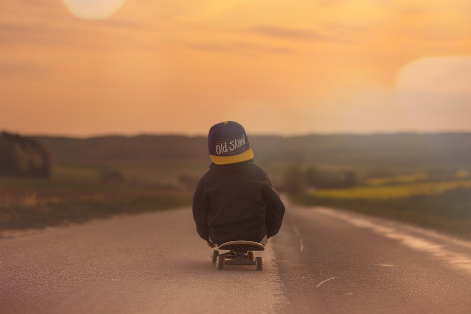 Skateboard, Bambino, Ragazzo, Tramonto, Afterglow