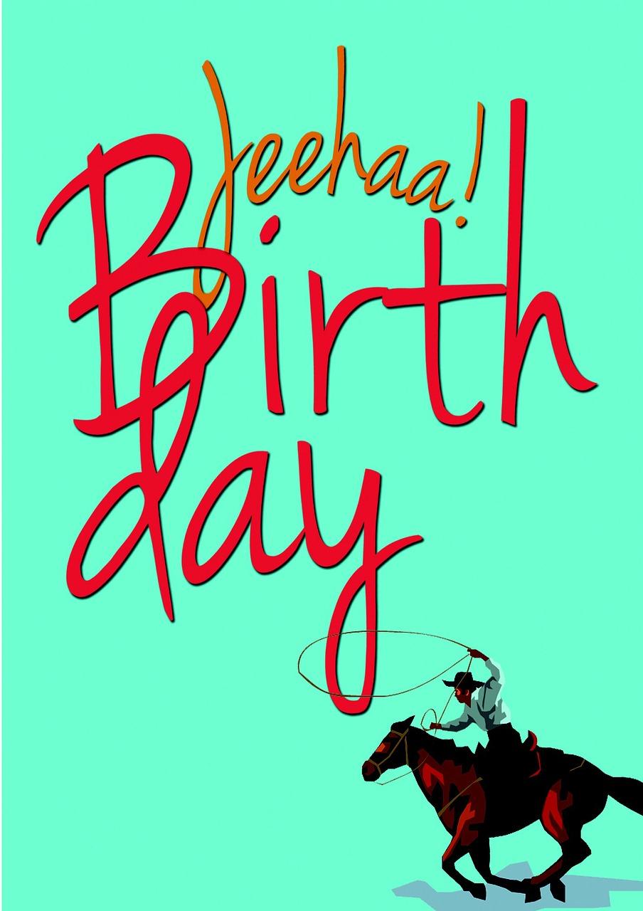 Прикольная тетка, открытка с днем рождения для ковбоя