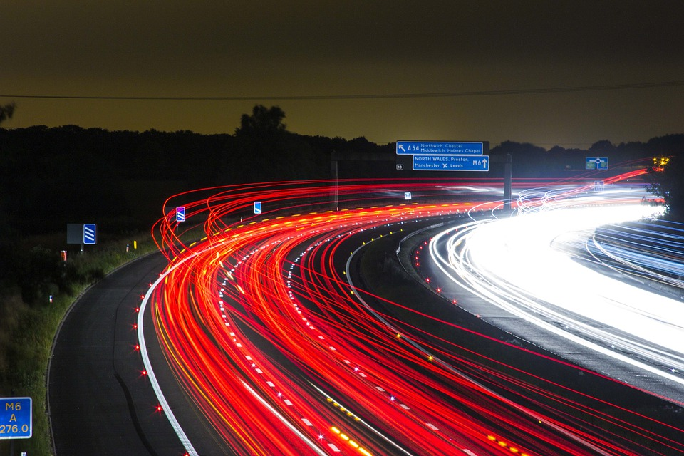 Traffic, Highway, Lights, Night, Speed, Road