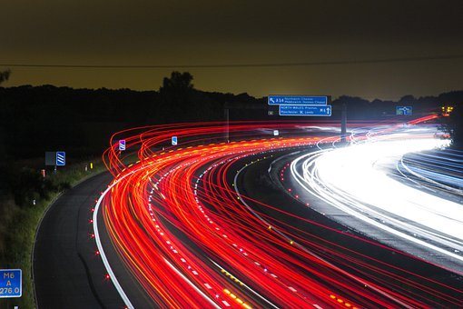 Traffic, Highway, Lights, Night, Speed