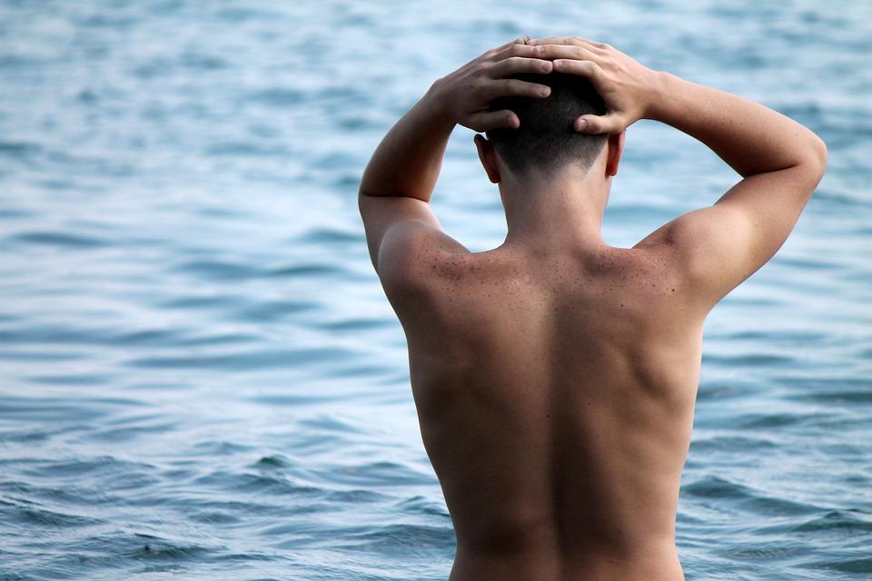 Mare, Acqua, Vacanza, Estate, Ragazzo, Schiena, Corpo