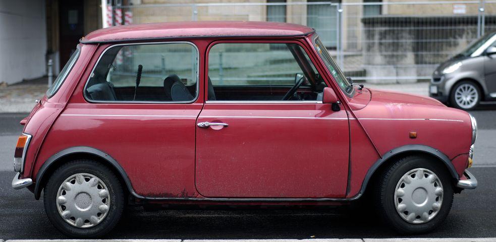 自動車, オールドカー, ドイツ, 赤, 赤い車, 赤い, ミニ, ローバー