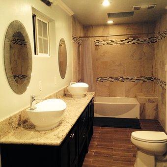 Bathroom, Tiles, Toilet, Sink, Home