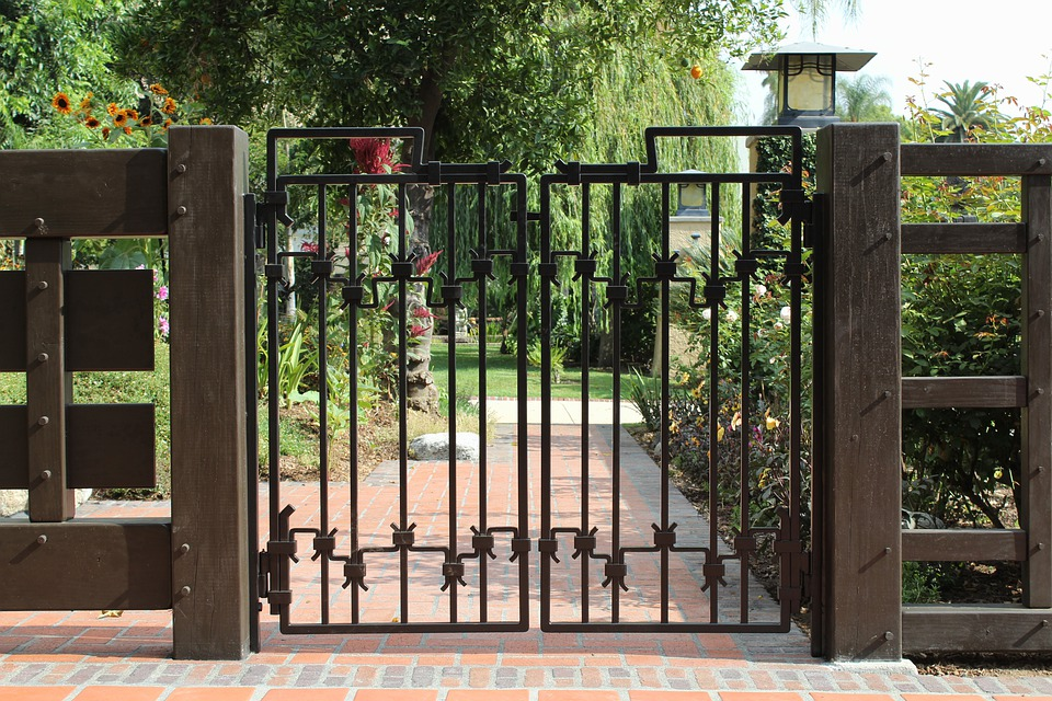 Gate, Fence, Wrought Iron, Iron, Gated, Property, Home