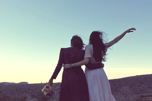 Girlfriends, Sunset, Vintage, Bohemian