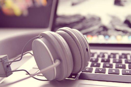 Notebook, Laptop, Headphones, Office