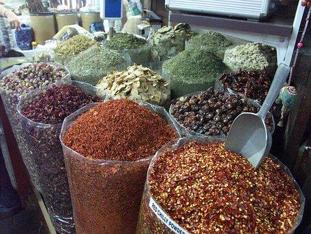 ドバイ, 市場, スパイス, ショッピング, 調理する, エキゾチック