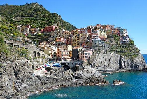 Coast, Sea, Village, Buildings, Houses