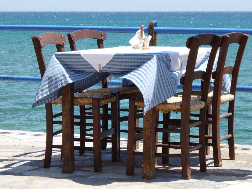 Table, Wood, Seat, Chair, Sea, Blue, Summer, Vacations