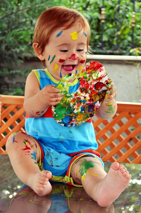 Child, Portrait, Laugh, Face, Human, Happiness, Paint