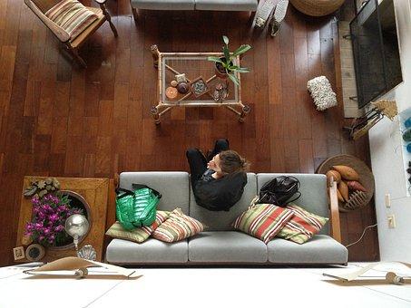 Girl, Room, Woman, Living Room, Sofa