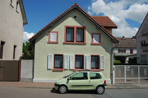 緑, 緑色のライト, 青, 空, 家, 自動, Farbenspiel