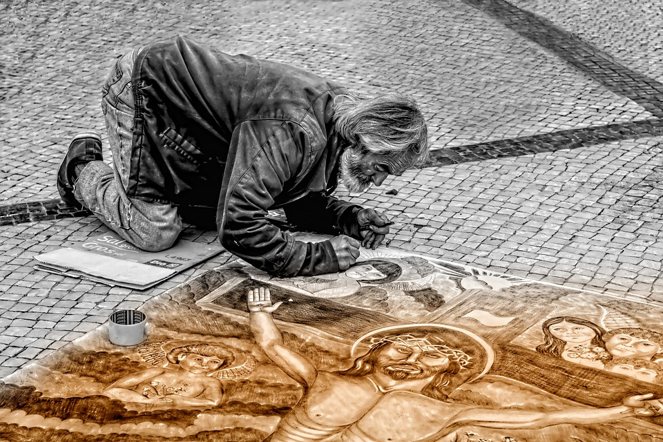 L'Homme, Artiste, Rue, Peintre, Peinture, Art