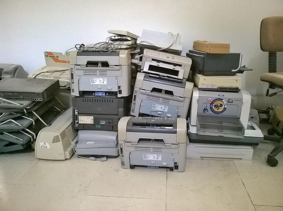 プリンター, 古い, 放棄された, リサイクル, 技術, 機器, オフィス, 印刷, ビジネス, 壊れた