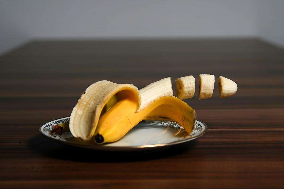 Plátano, Frutas, Amarillo, Delicioso, Piezas