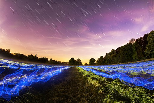 Stars Field Long Exposure Night Lights Mot
