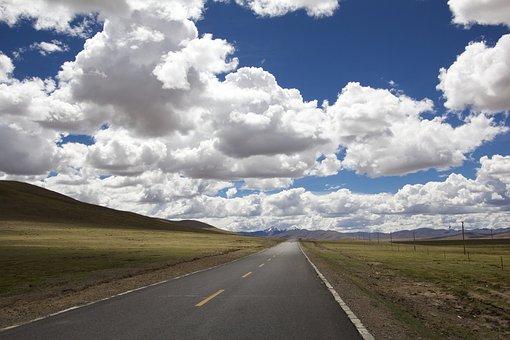 道路, 距離, 風景, 地平線, ストレート, フラット, 視点, 高速道路