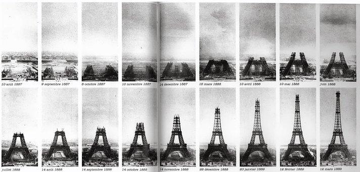 Eiffel Tower Construction Paris Tower Vint